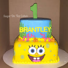 spongebob theme 2 tier cake this is for braxtons 3rd bd