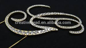 rhinestone monogram cake topper free shipping gold metal dimante rhinestone monogram