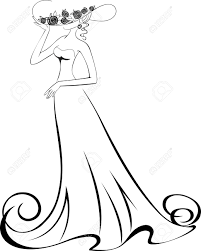 sketch of a slender woman in a long dress and hat royalty free