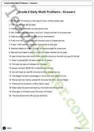 daily math word problems grade 6 worksheets teaching resource