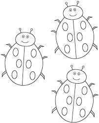 three ladybugs coloring page insects