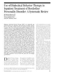 use of dialectical behavior therapy in inpatient treatment of