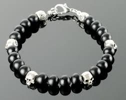 mens skull bracelet images Mens skull skull bracelets for men with black gemstones etsy jpg