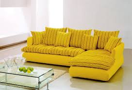 Yellow Leather Sofa Living Room L Shaped Striped Pattern Yellow Sectional Interior
