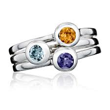stackable birthstone rings crescent moon stacking birthstone rings sterling silver