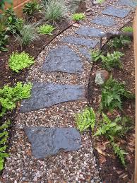flagstone path dry stream bed meandering thru serene side garden
