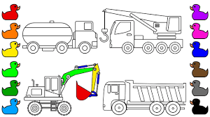 learn colors for kids with car and construction truck coloring