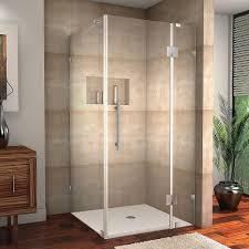 hinged frameless shower doors showers the home depot