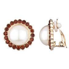 clip on earrings s leonie s chagne cz and imitation pearl gold button clip on earrings