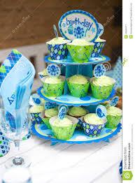 baby boy birthday themes baby boy birthday party table set stock photo image