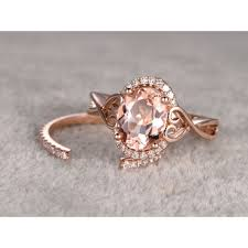 open wedding band morganite engagement ring gold halo ring open gap diamond