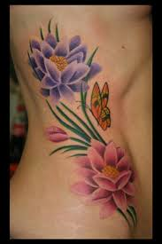 butterfly and flowers tattoos