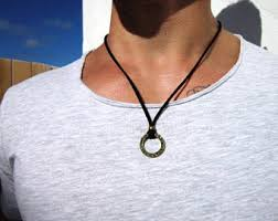 leather necklace with pendants images Men leather necklace etsy jpg