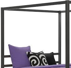 dhp modern metal framed industrial canopy bed frame queen grey