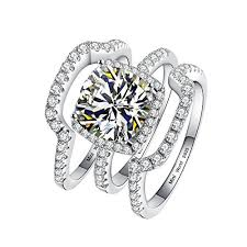engagement rings sets silver bridal engagement ring sets 3pcs 3 carat d e f color