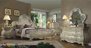 Cavallino Mansion Bedroom Set Traditional Antique White Victorian King Mansion Bed 4pc Bedroom