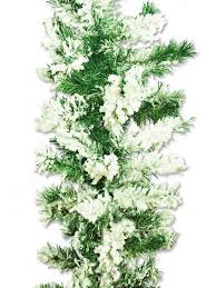 flocked antarctic thick pine branch garland with snow 2 7m