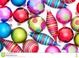 bright background of assorted ornaments stock image