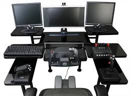 best custom gaming desk setup with multiple monitors in black