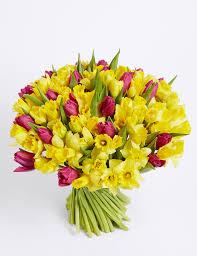 100 stem daffodil u0026 tulip bouquet m u0026s
