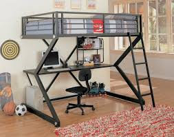 Iron Bunk Bed Designs Furniture Grey Metal Bunk Bed With Desk And Armless Adjustable