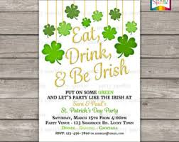 St Patrick U0027s Day Party Invitation Eat Drink And Be Irish