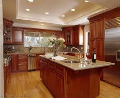 Kitchen Floors With Cherry Cabinets Kitchen With Cherry Cabinets Beige Marble Kitchen Countertop Black