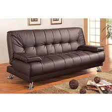 modern futon style sleeper sofa bed in brown faux leather