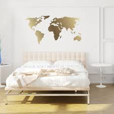 World Map Wall Sticker by World Map Decal Gold Kiss Cut World Decal By Chromantics