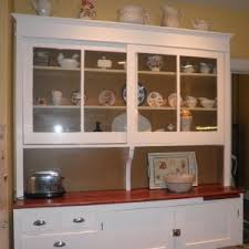 Good Looking White Hutch Kitchen Furniture Featuring Glass Wooden
