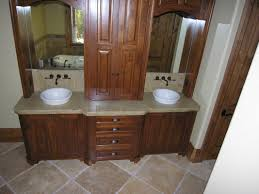 bathroom decoration using solid oak wood white double sink