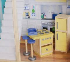 Kitchen Dollhouse Furniture by Amazon Com Play Wonder Dollhouse Wood Kitchen Accessory 5 Piece