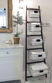 Bathroom Baskets For Storage Decorative Bathroom Storage Bathroom Ladder Shelf With Baskets