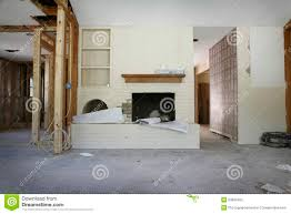brick fireplace in house under renovation stock photo image