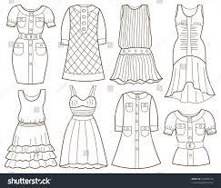 collection fashion clothes coloring book stock vector 183205172