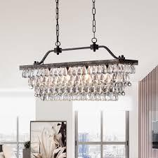 Rectangular Chandelier Bronze Ikraam Glass And Bronze Rectangular Pendant Light Fixture 30 In