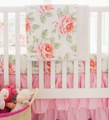 Roses Crib Bedding Hello Roses Floral Bumperless Crib Collection Pink Roses