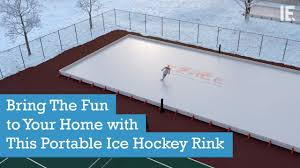 bring the fun to your home with this portable ice hockey rink