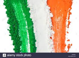 Flags That Are Orange White And Green The Tricolor Of The Indian National Flag Painted With Dye Powder