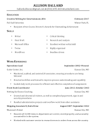 Resume Printer Resume Allison Ballard