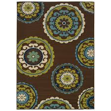 Green And Brown Area Rugs 7 10 X 10 10 Outdoor Indoor Area Rug In Brown Teal Green Yellow