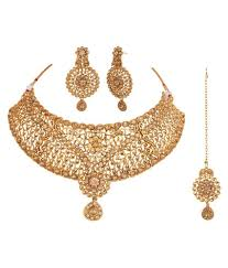 bridal necklace set images Apara gold plated lct studded bridal necklace set with maang tikka jpg