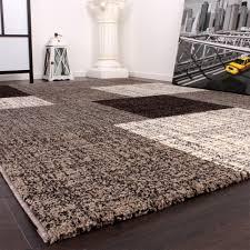 designer teppich designer teppich modern kurzflor karos und rechtecke meliert grau
