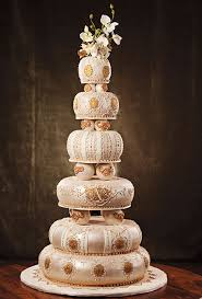 wedding cake ideas 6 layer gold u0026 beige u2022 diy weddings magazine