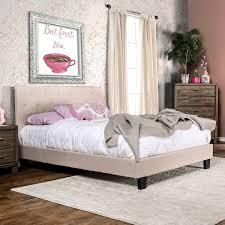 furniture of america perdella padded fabric low profile platform