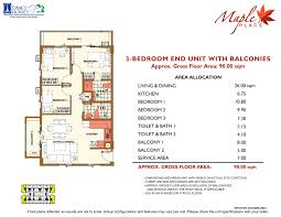 3 Bedroom Condo Floor Plan by Maple Place Dmci Philippine Condos