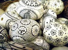 decorated egg shells create these easter eggs by using a sharpie and some