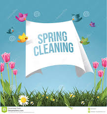Spring Cleaning by Cartoon Birds Flying With Spring Cleaning Message Stock Vector