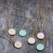 necklace initial pendants images Enamel initial charm necklace by j s jewellery jpg