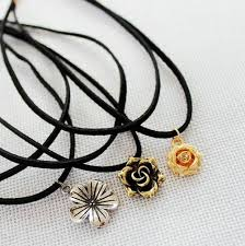 rose flower necklace images Wholesale gold rose flower pendant double layer black choker jpg